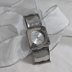 Hammered Sterling silver and stainless steel watch